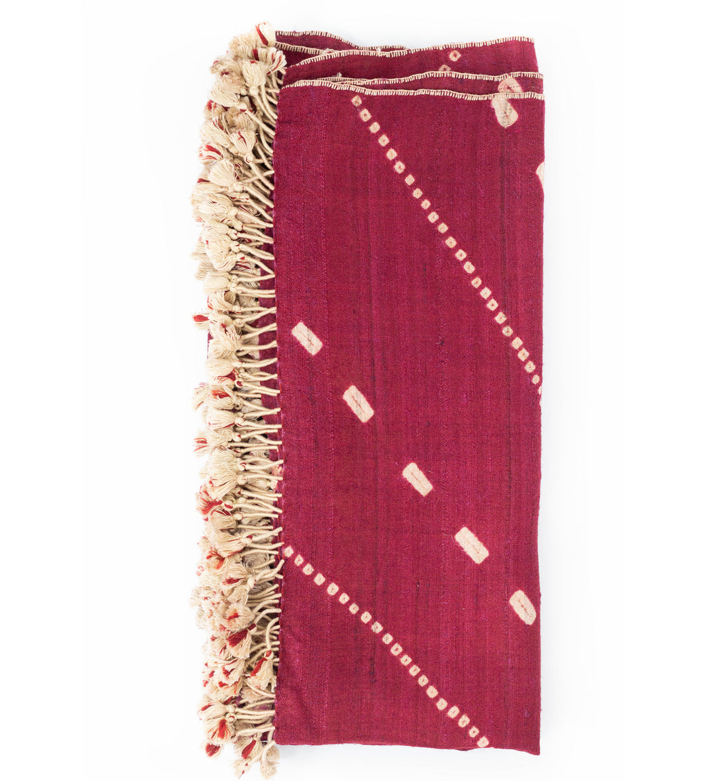 Handwoven Bandhani Oversized Throw: Cranberry
