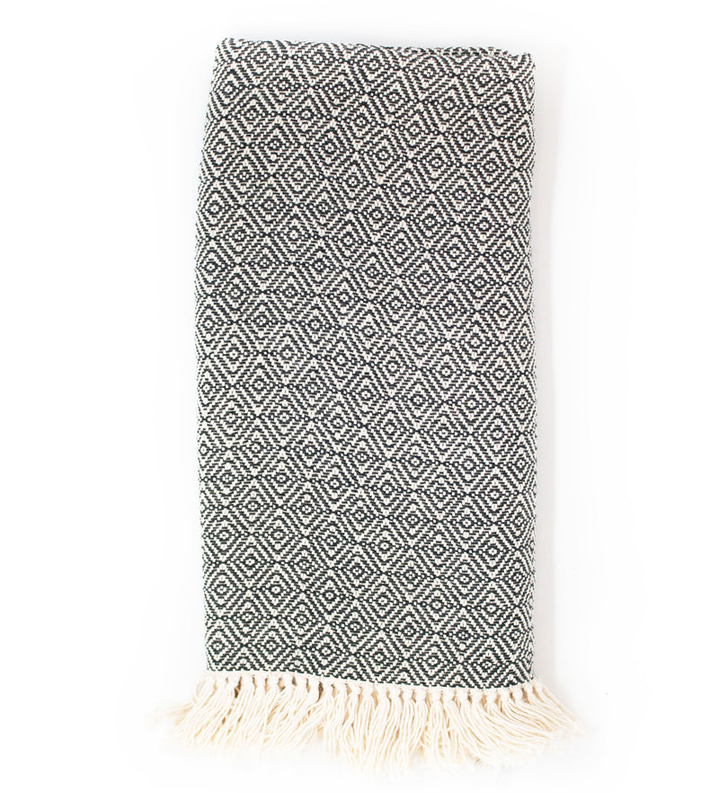 Handwoven Throw: Black Diamond Stitch