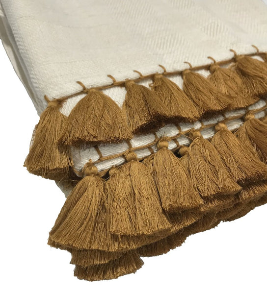 Handwoven Throw with Gold Tassels
