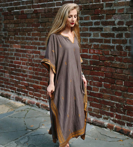 Hazara Caftan: Gold and Cocoa