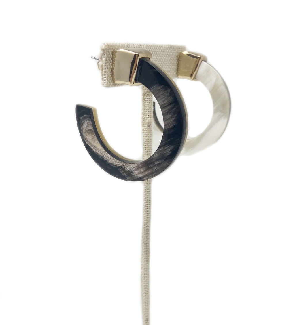 Horn Hoop Earring: Black and White