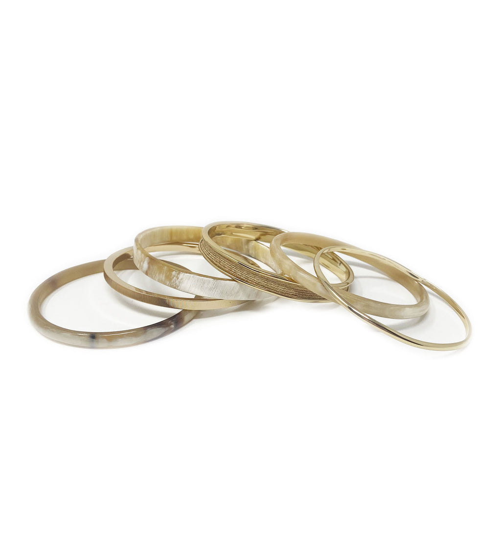 Horn, Raffia, and Metal Bangle Set of 6