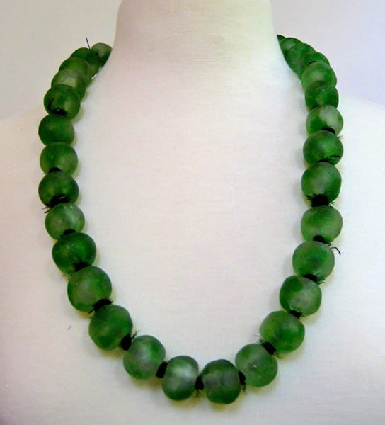 Luminescent African Glass, Large Beads, Emerald Green