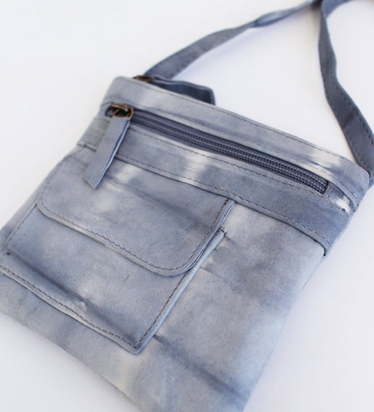 Mimi Cross Body Leather Bag: Grey