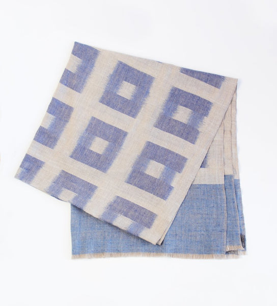 Claire Grid Shawl: Blue and Beige