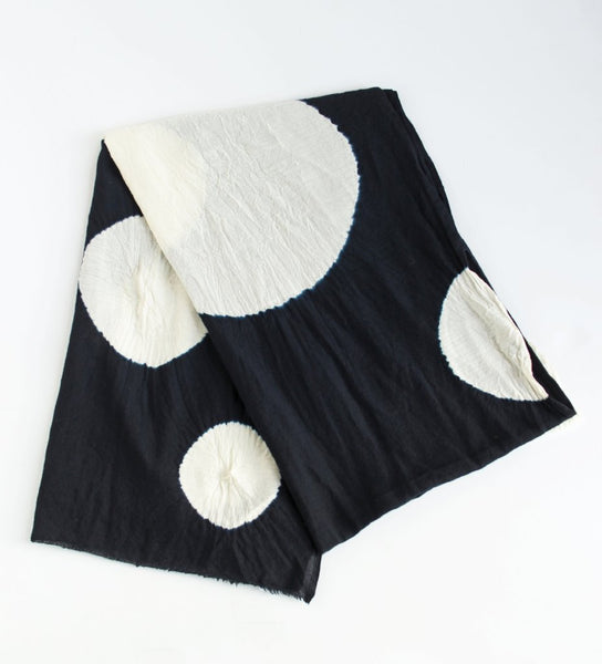 Shibori Large Circle Shawl: Black/White