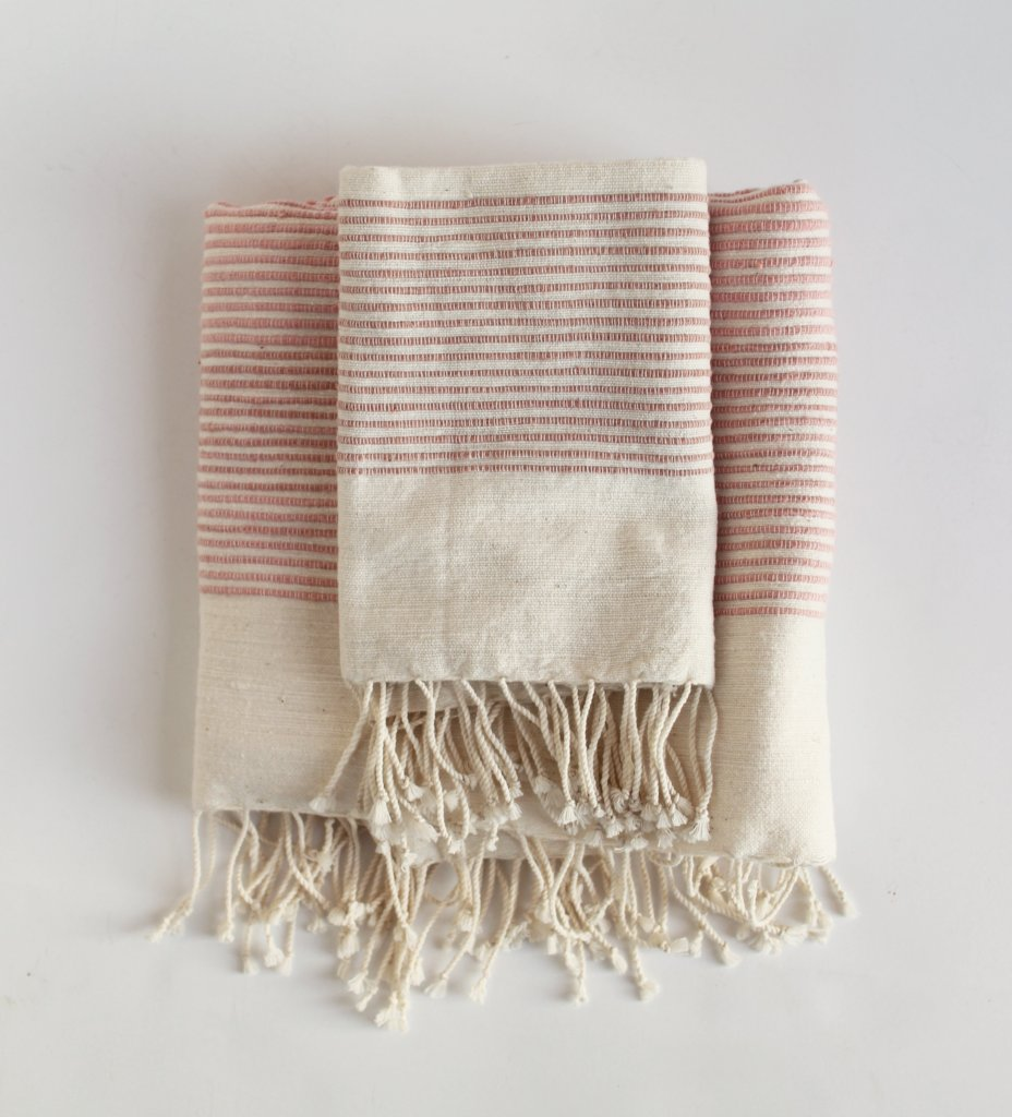 Riviera Ribs Hand Towel: Blush