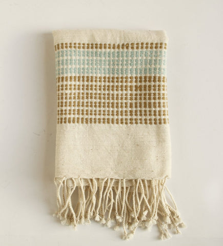 Camden Dots Hand Towel: Sand and Azure