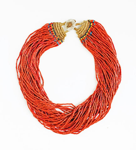 Naga Burnt Orange Multo Strand Full Necklace