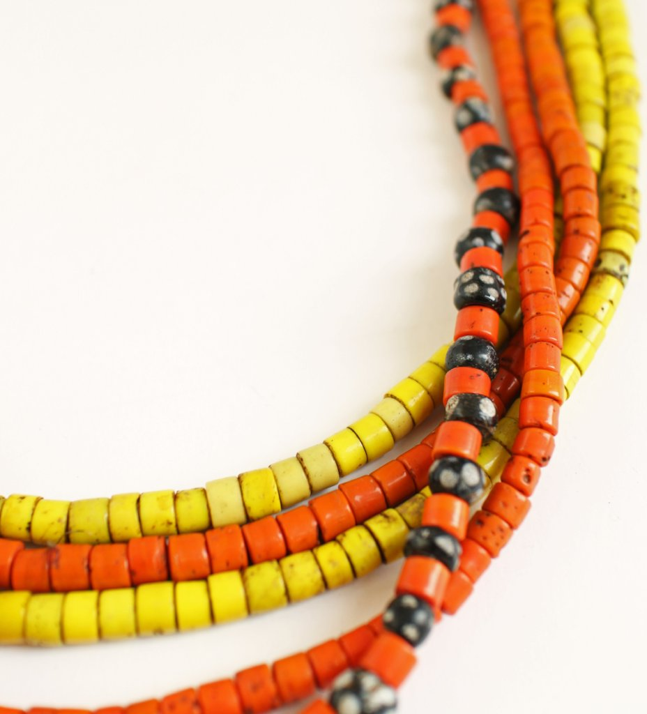 Large Orange Tile Bead with Two Yellow Strands