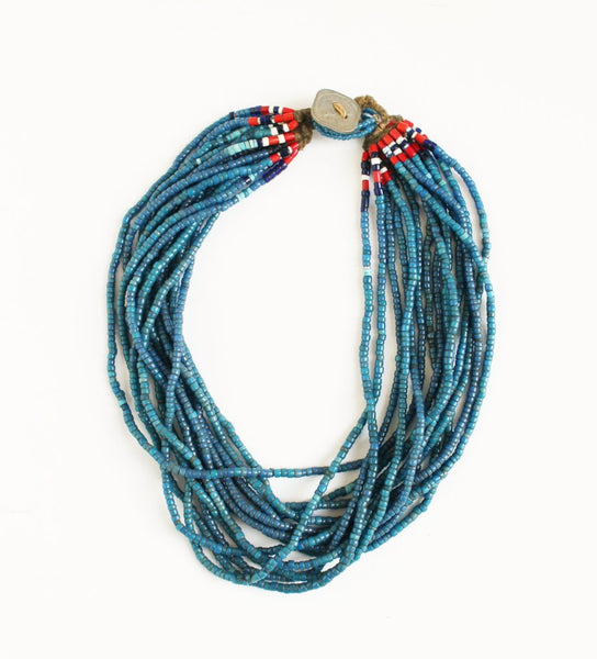 Blue Small Naga Necklace with Coin Button