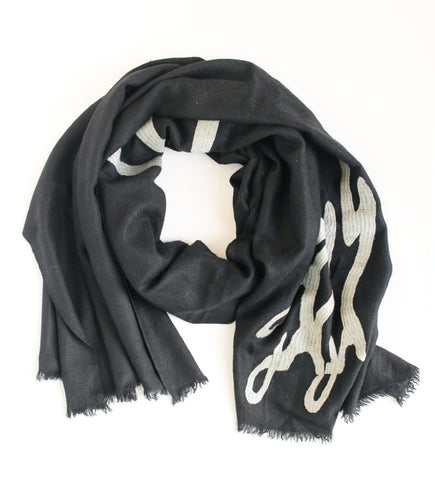 Peace Shawl: Black with Grey
