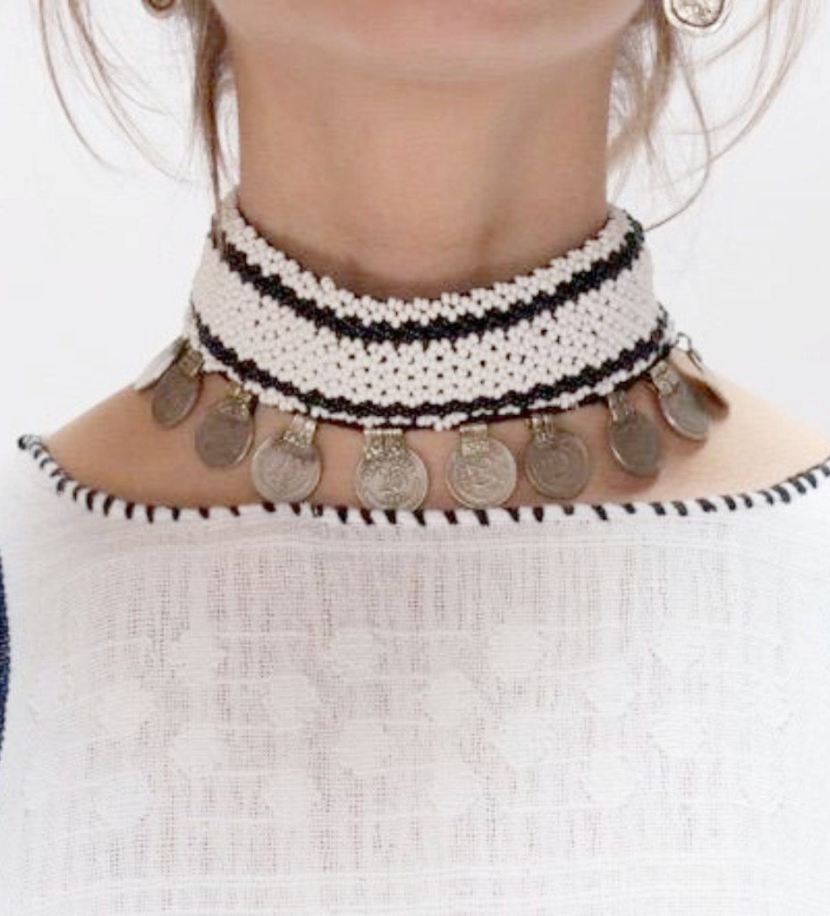 Bead and Coin Choker: White with Black