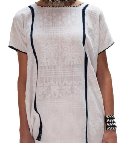 Toshani Tunic: White with Blue