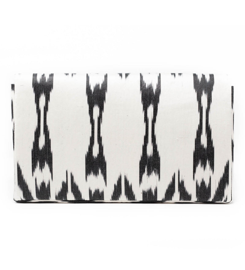 Ikat Black and White Clutch