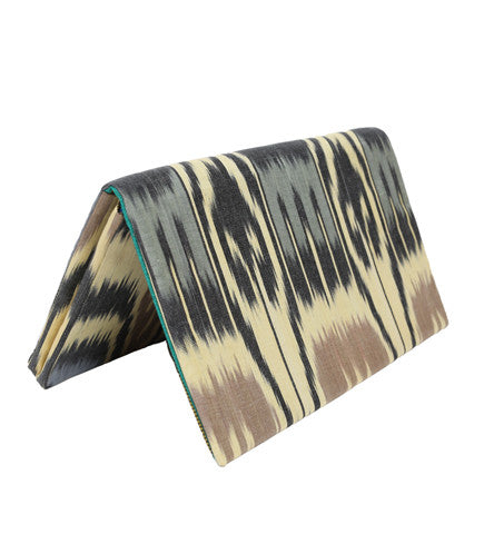 Ikat Foldover Clutch: Black/Citron