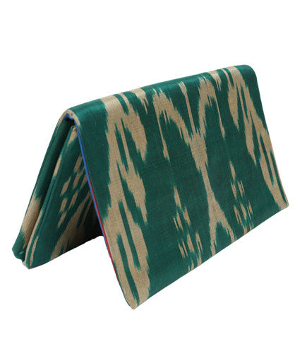 Ikat Foldover Clutch: Emerald Green