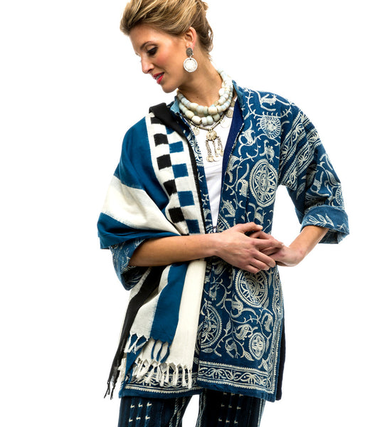 Ikat Handwoven Shawl: Black, Blue, and White