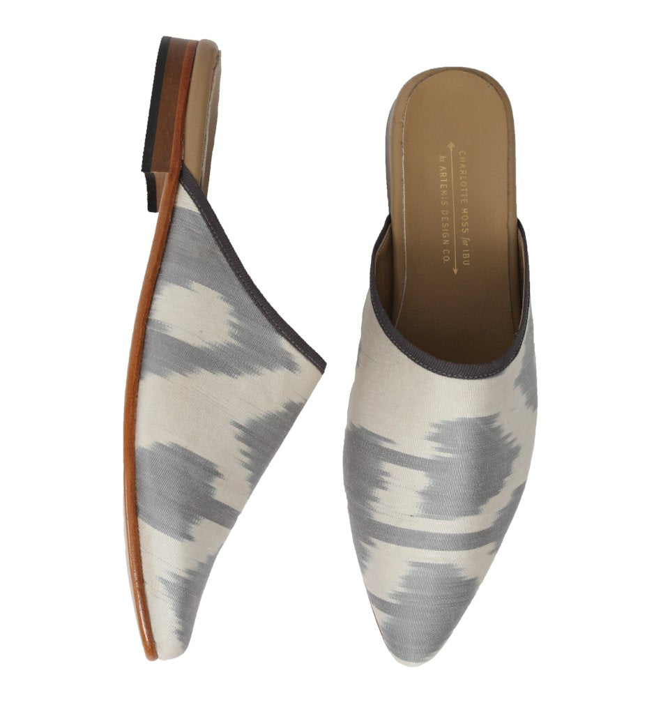 Ikat Silk Slide: Grey