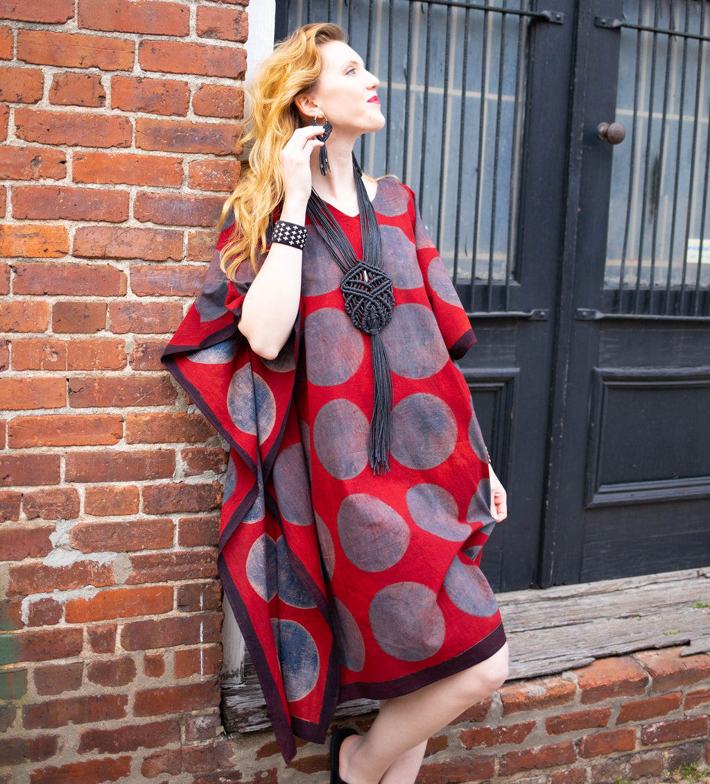 Indian Caftan: Red with Blue Circles