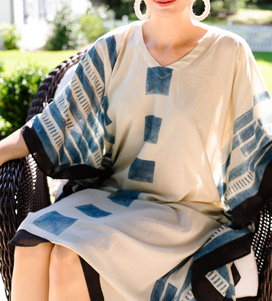 Indian Caftan: Cream with Blue Squares