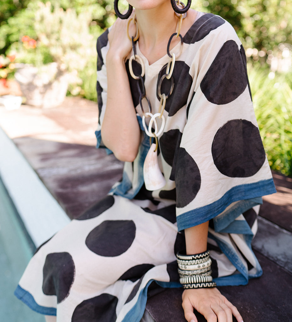Indian Caftan: Cream with Black Circles
