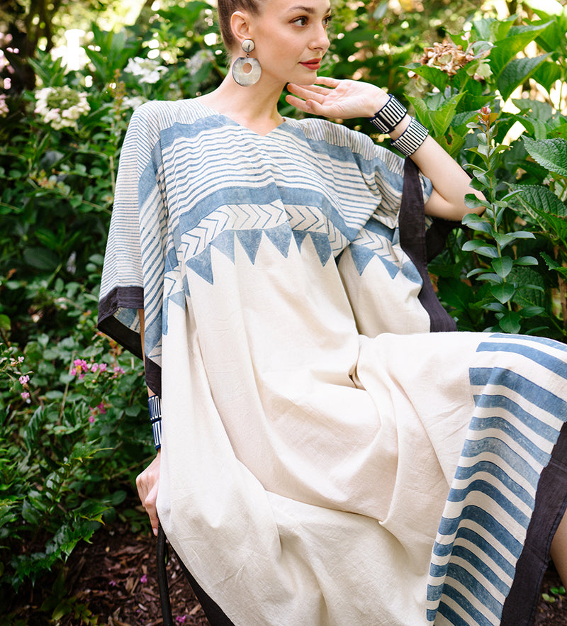 Indian Caftan: Cream with Blue Lines