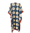 Indian Caftan: Blue with Cream Circles