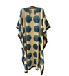 Indian Caftan: Cream with Blue Circles