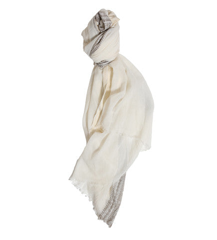 Indian Scarf with Bengal Border: Pewter and Gold
