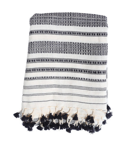 Black and White Indian Cotton Tassel Scarf