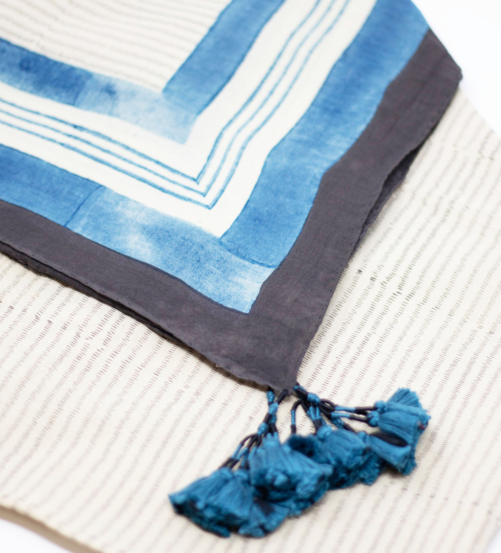 Indian Tassel Scarf: Blue Lines
