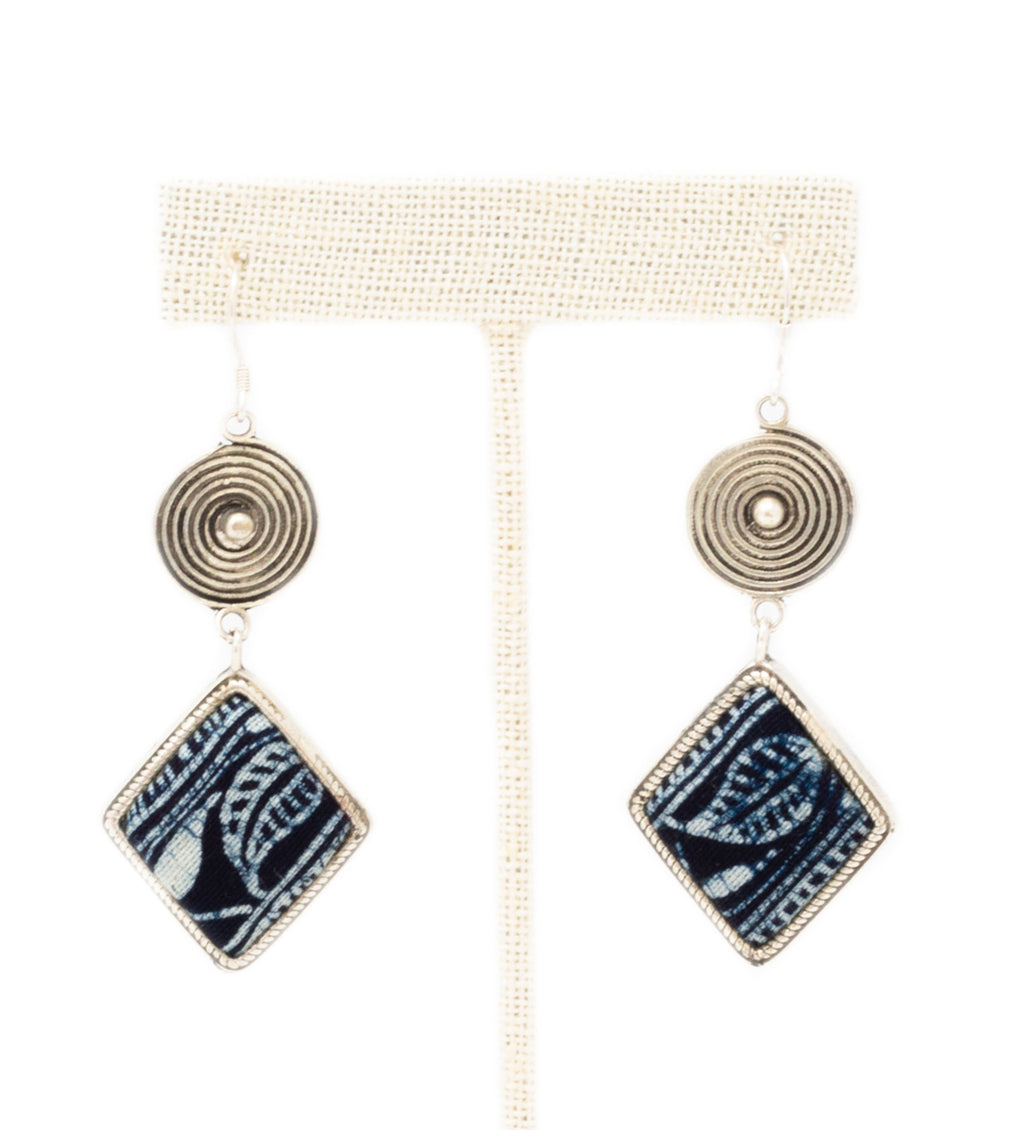 Indigo Batik Diamond Drop Earring