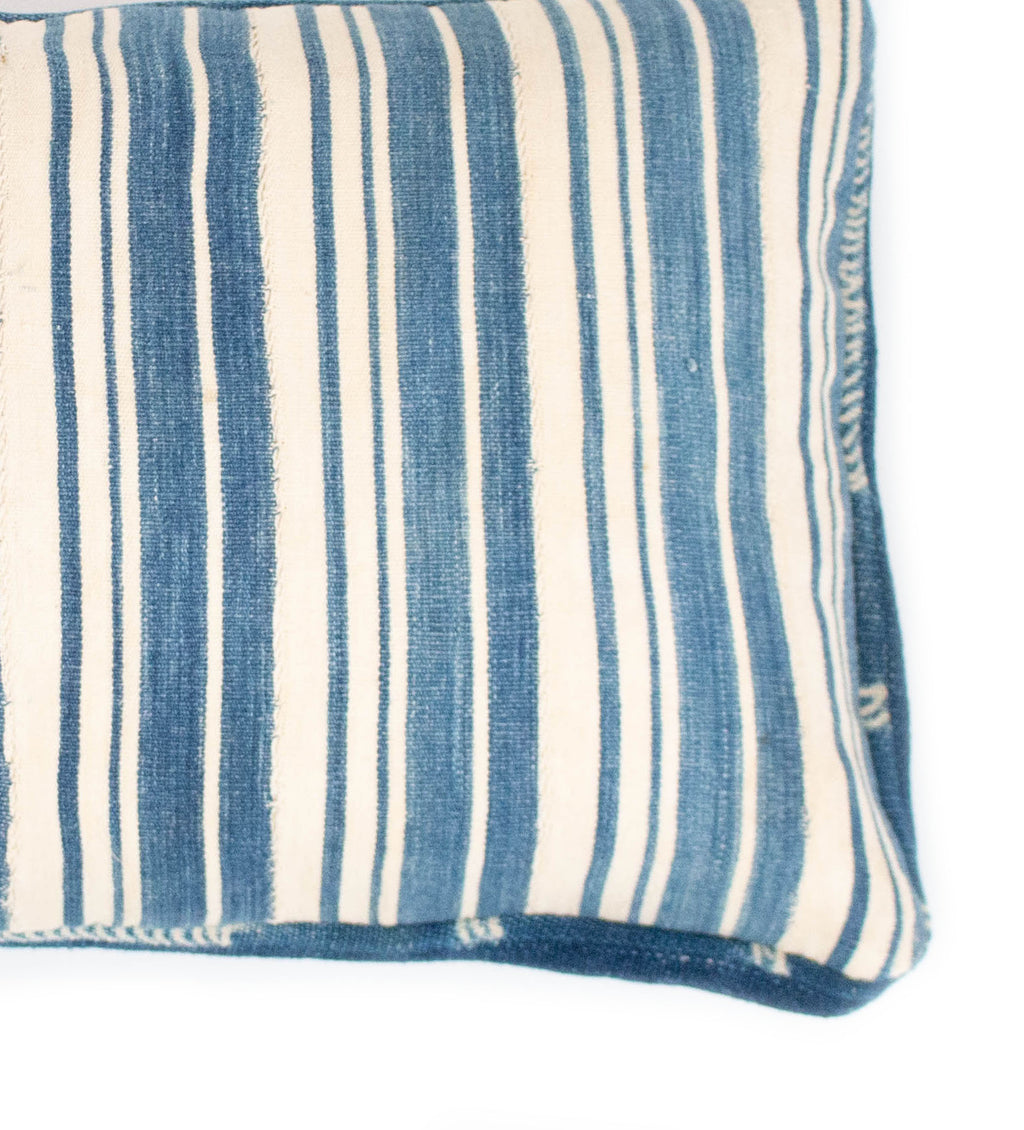 Indigo and White African Strip Weaving Lumbar Pillow