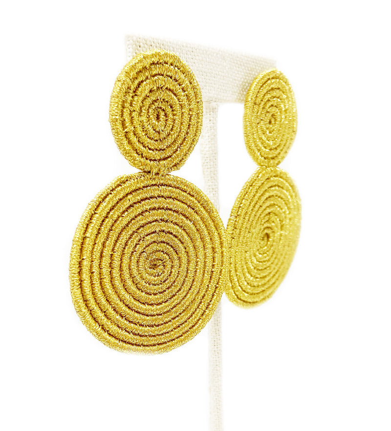 Woven Double Circle Earring: Gold