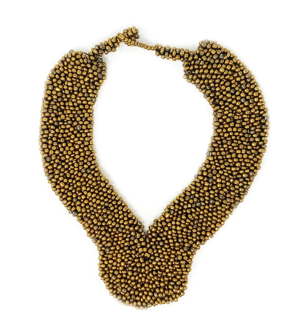Elegant Beaded Collar Necklace: Gold