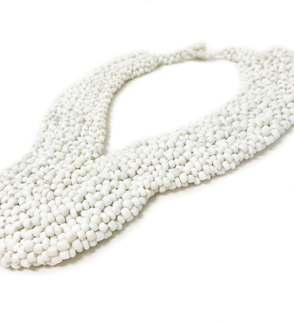 Elegant Beaded Collar Necklace: White