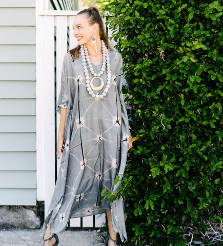 Itajime Silk Caftan: Light Blue and Chartreuse