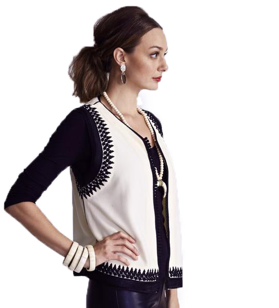 Amina Vest: Ivory with Black