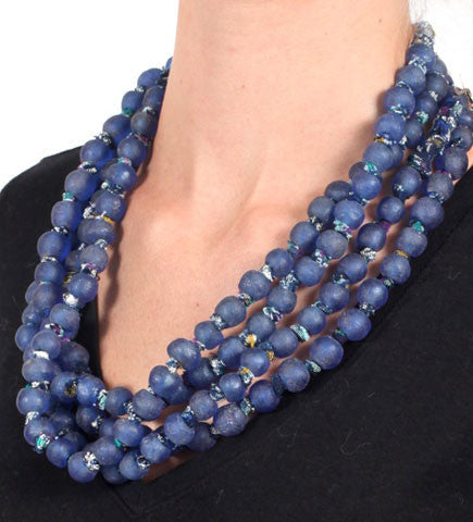 Luminescent African Glass, Small Beads, Cobalt