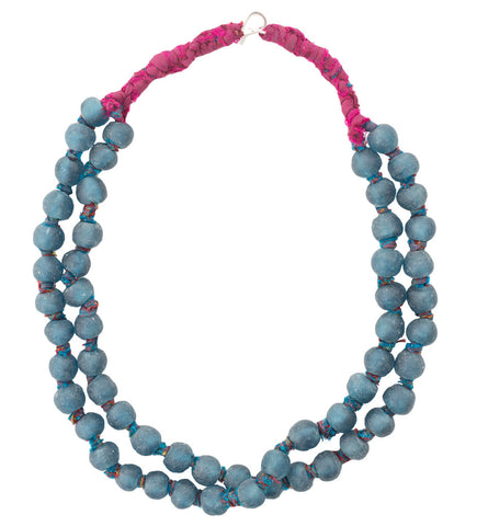 Luminescent African Glass Beads: Blue Double Strand