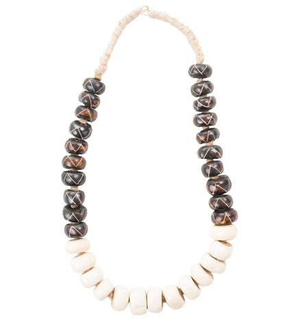 Singular Strength African Bone Beaded Necklace: Two Tone