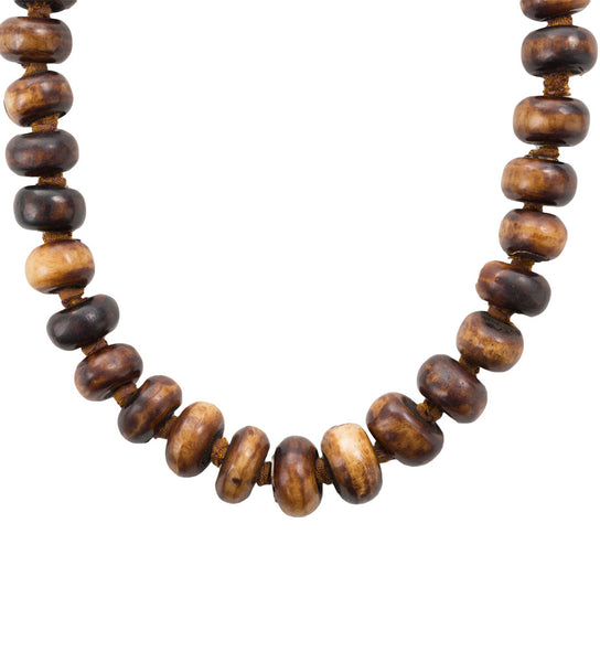Singular Strength African Bone Beaded Necklace: Brown