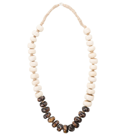 Singular Strength African Bone Beaded Necklace: Long