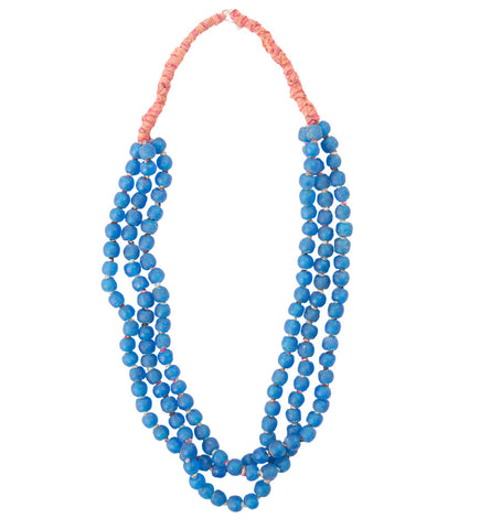 Luminescent African Glass Beads: Bright Blue Triple Strand