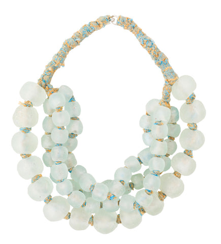 Luminescent African Glass: Sky Blue Choker Multi Strand