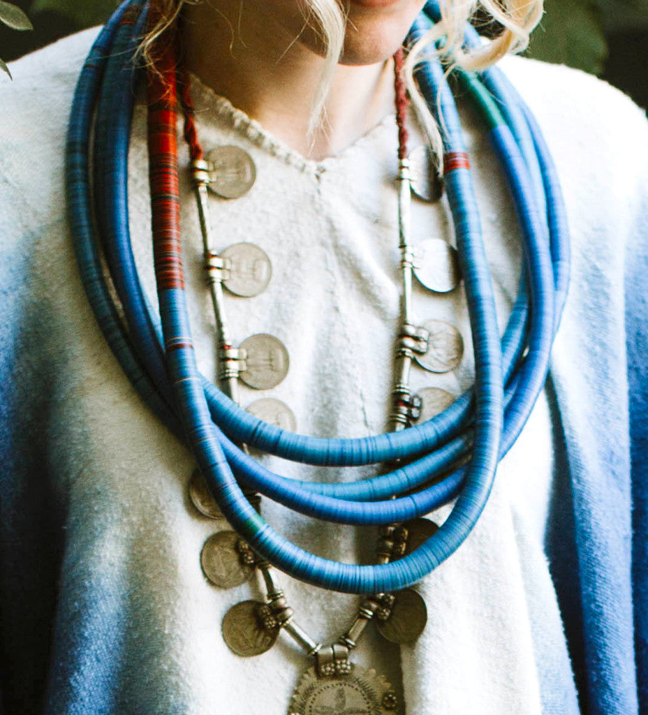 African Hip Necklaces: Blue
