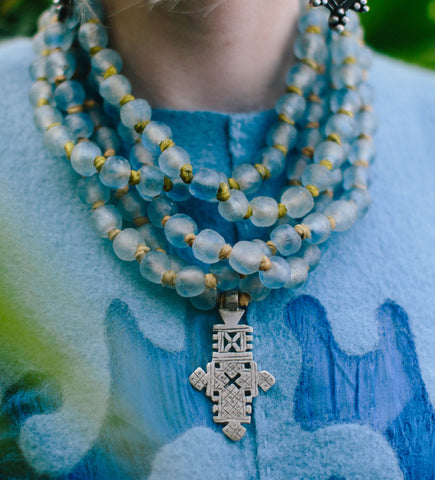 Sky Blue Glass Necklace with Ethiopian Cross