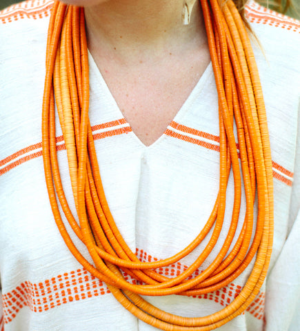 Tangerine Double African Hip Necklace