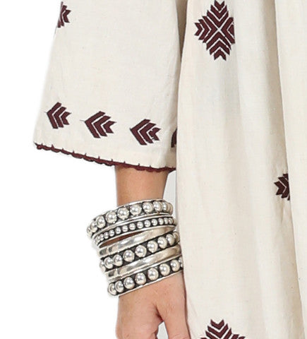 Henna Embroidered Jacket with Tie: Burgundy